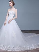 A-라인 웨딩 드레스 채플 트레인 스윗하트 레이스 / 튤 와 비즈 / 레이스