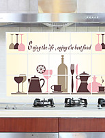Oil-Proof Red Wine Glass Kitchen Wall Stickers Fashion Removable Kitchen Wall Decals