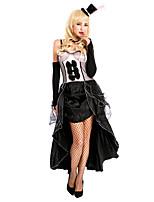 Costumes Vampire Halloween Noir / Rouge & noir Couleur Pleine / Lace Elasthanne / Térylène Jupe / Gants / Collier / Chapeau