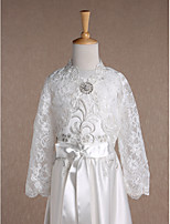 Kids' Wraps Shrugs Long Sleeve Lace Ivory Wedding / Party/Evening V-neck 34cm Rhinestone Open Front / Clasp