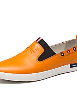 Herren-Flache Schuhe-Büro / Lässig-Leder-Flacher Absatz-Spitzschuh-Schwarz / Gelb / Weiß