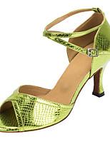 Non Customizable Women's Dance Shoes Flocking Flocking Latin / Salsa Sandals / Heels Flared Heel Indoor Green