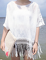 Women's Casual/Daily Simple Summer Cloak/Capes,Solid Round Neck ½ Length Sleeve White Polyester Medium