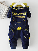 Boy's Cotton Spring/Autumn Fashion Cartoon Bear Patchwork Print Casual Hoodie And Pants Sport Suit Two-piece Set