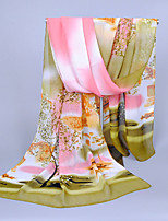 Women's Chiffon Flowers Print Scarf,Green/Yellow/Pink/Blue/Brown