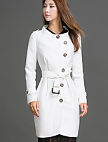 Women's Casual/Daily Simple Trench Coat,Solid Stand Long Sleeve Fall / Winter White Spandex Medium