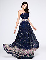 TS Couture® Formal Evening Dress A-line Strapless Floor-length Chiffon with Pattern / Print / Criss Cross