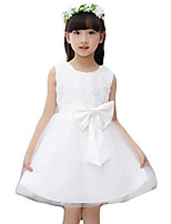 Girl's Casual/Daily Solid Dress,Rayon Summer Red / White