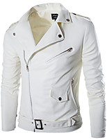 Men's Long Sleeve Casual Jacket,Polyester Solid White
