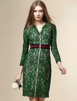Angel Women's Going out Street chic Sheath Dress,Patchwork V Neck Above Knee ¾ Sleeve Green Polyester Fall