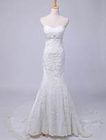 Trumpet / Mermaid Wedding Dress Chapel Train Sweetheart Chiffon / Lace / Satin with Button / Lace / Pattern