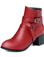 Черный / Красный / Белый / Серый-Женский-Для офиса / Для праздника / На каждый день-Дерматин-На толстом каблуке-Военные ботинки / С