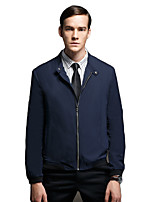 Men's Long Sleeve Casual / Work / Sport Jacket,Rayon / Polyester Solid Black / Blue / Brown / Gray