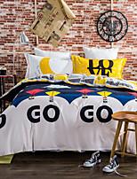 Blumen Bettbezug-Sets 4 Stück Baumwolle Muster Reaktivdruck Baumwolle ca. 1,50 m breites Doppelbett / ca. 1,90 m breites Doppelbett1 Stk.