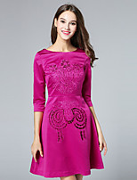 Boutique S Women's Casual/Daily Cute A Line Dress,Embroidered Round Neck Above Knee ½ Length Sleeve Polyester Fall