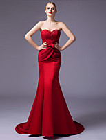 Formal Evening Dress Trumpet / Mermaid Sweetheart Court Train Lace / Satin with Beading / Lace