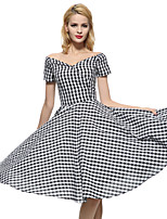 Maggie Tang Women's 50s VTG Retro Check Rockabilly Hepburn Pinup Cos Party Swing Dress 576