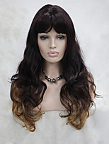 Fashion Eggplant Purple Mix Strawberry Blonde Skin Top Curly Wavy Long Bangs Wig