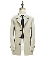 Men's Casual/Daily Chinoiserie Trench CoatSolid Square Neck Long Sleeve Fall / Winter Blue /  Brown Polyester Medium