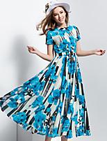 BORME® Damen Rundhalsausschnitt Kurze Ärmel Maxi Kleid-Y009