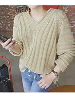 Women's Going out Simple Regular Pullover,Solid Brown V Neck Long Sleeve Cotton Fall Medium