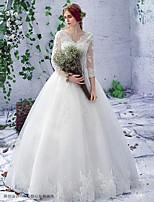 A-라인 웨딩 드레스 바닥 길이 V-넥 레이스 / 튤 와 레이스