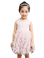 Girl's Casual/Daily Solid Dress,Others Summer Pink / White