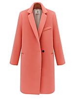 Women's Casual/Daily Street chic Coat,Solid Notch Lapel Long Sleeve Winter Pink / Black Faux Fur Medium