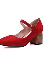 Mujer-Tacón Robusto-Tacones / Punta Cuadrada-Tacones-Oficina y Trabajo / Vestido / Casual-Cuero-Negro / Rojo