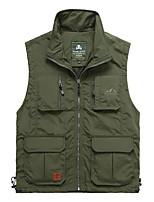 Men's Solid / Patchwork Work Tank Tops,Cotton / Polyester Sleeveless-Green / Beige