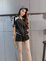Boutique S Women's Casual/Daily Street chic Summer Set Pant,Color Block V Neck ½ Length Sleeve Black Polyester Thin