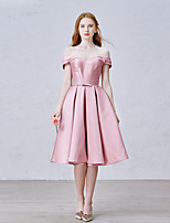 Knee-length Satin Bridesmaid Dress A-line Off-the-shoulder with Bow(s) / Sash / Ribbon