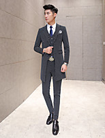Suits Tailored Fit Peak Single Breasted Two-buttons Polyester Stripes 3 Pieces Black Straight Flapped