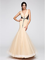 TS Couture® Formal Evening Dress Fit & Flare V-neck Floor-length Tulle with Beading / Lace / Criss Cross