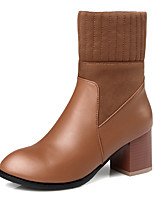 Women's Boots Fall / Winter Fashion Boots / Round Toe Office & Career / Dress / Casual Chunky Heel Split Joint /