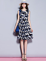 Sybel Women's Going out / Daily Street chic Sheath Dress,Print Round Neck Knee-length Sleeveless Blue Polyester