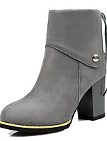 Women's Shoes Fashion Boots / Round Toe Boots Office & Career / Dress / Casual Chunky Heel Beading / Buckle / Zipper