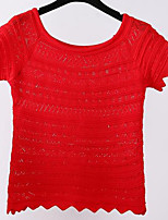 Women's Casual/Daily Simple Regular Cardigan,Solid Red / White / Black Round Neck Short Sleeve Acrylic Summer Medium