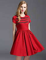 Viva Vena® Women's Round Neck Short Sleeve Above Knee Dress-VA88228