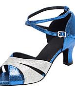 Non Customizable Women's Dance Shoes Sparkling Glitter Sparkling Glitter Latin / Salsa Sandals / Heels Cuban Heel Indoor