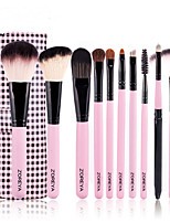 10 Makeup Brushes Set Synthetic Hair Professional / Full Coverage Wood