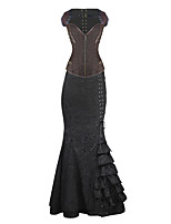 Burvogue Women's Jacquard Steel Boned Overbust Steampunk Corset Dress Tops