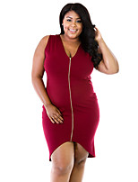 Women's Plus Size / Casual/Daily Sexy Sheath Dress,Solid V Neck Asymmetrical Sleeveless Red / Black Polyester Summer