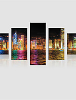 JAMMORY Canvas Set Landscape Modern,Five Panels Gallery Wrapped, Ready To Hang Vertical Print No Frame City Lights