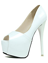 Women's Sandals Summer Peep Toe PU Casual Stiletto Heel Others Black / White Others