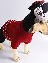 Dog Costume Coat Clothes/Jumpsuit Dog Clothes Cute Fashion Casual/Daily Cosplay Halloween Cartoon Red Black