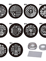 10PCS   Nails  Coloured Drawing Or Pattern Purple Circular Plastic The Template  1 Send Senior Transparent The Seal