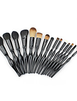 15PCS Make Up Brushes Cosmetic Plastic Handle Nylon Brush Basic Eyebrow Eyeshadow Mascara Lip Brushes