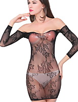 Women Sexy Black Lace Slim Spandex Nightwear Hollow Jacquard Skirt Backless Network Clothing  Pajamas Lingerie
