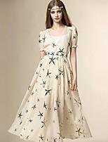 Angel Women's Going out Street chic Swing Dress,Print V Neck Midi Short Sleeve White / Beige Polyester Summer